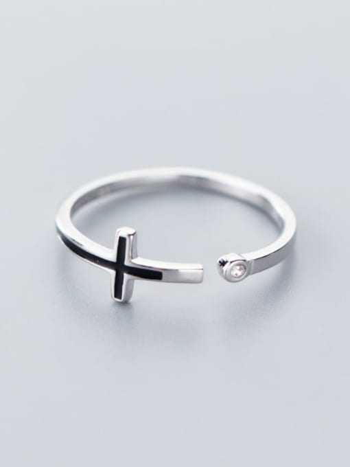 Rosh 925 Sterling Silver  Minimalist  Cross Free Size Ring 1