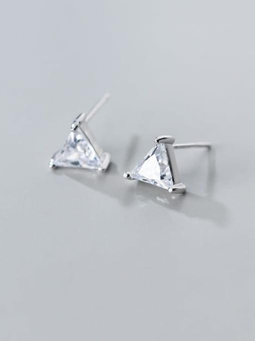 Rosh 925 Sterling Silver Cubic Zirconia  Triangle Minimalist Threader Earring 3