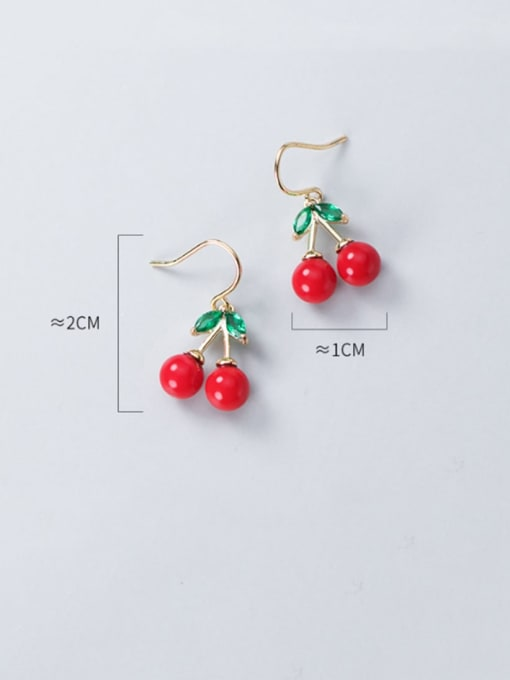 Rosh 925 Sterling Silver Red Enamel Cute Cute golden cherry Drop Earring 2