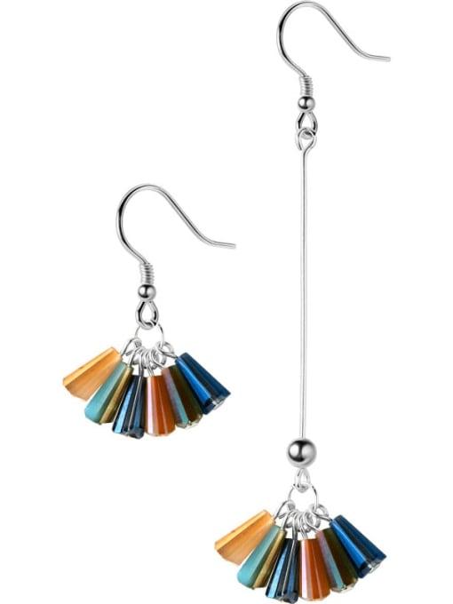 Rosh 925 Sterling Silver Cubic Zirconia Multi Color Geometric Trend Hook Earring 3