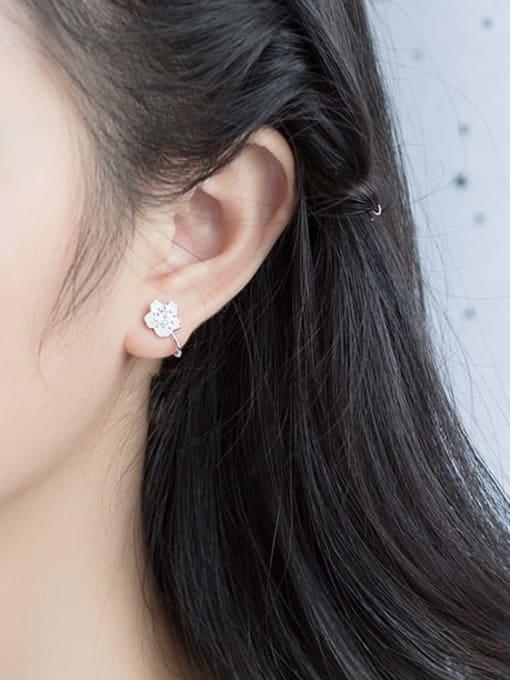 Rosh 925 Sterling Silver Rhinestone White Flower Minimalist Hook Earring 1
