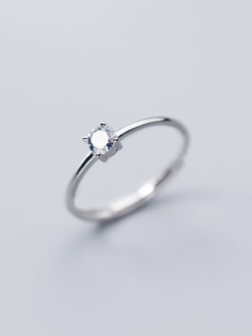 Rosh 925 Sterling Silver Rhinestone  Round Minimalist Free Size Ring 0