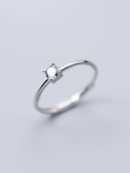 Rosh 925 Sterling Silver Rhinestone  Round Minimalist Free Size Ring