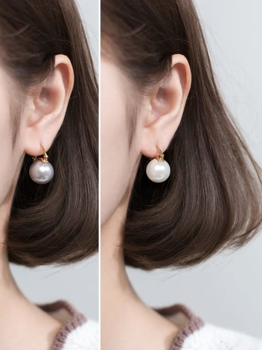Rosh 925 Sterling Silver Imitation Pearl Round Ball Minimalist Stud Earring 2