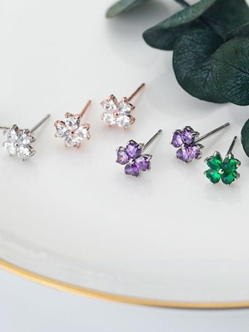 Rosh 925 Sterling Silver Cubic Zirconia Multi Color Flower Minimalist Stud Earring 2