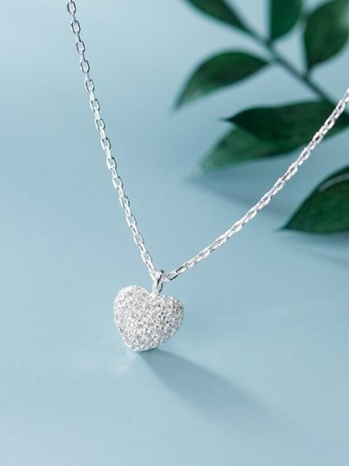 Rosh 925 Sterling Silver Minimalist  Simple Fashion Full Diamond Heart Pendant Necklace