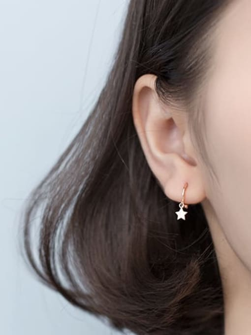 Rosh 925 Sterling Silver Cubic Zirconia Star Minimalist Huggie Earring 1