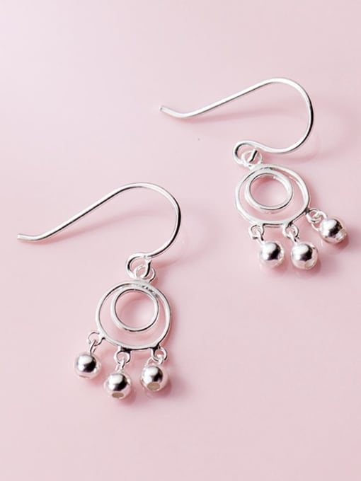Rosh 925 Sterling Silver  Minimalist   round smooth beads Hook Earring 1