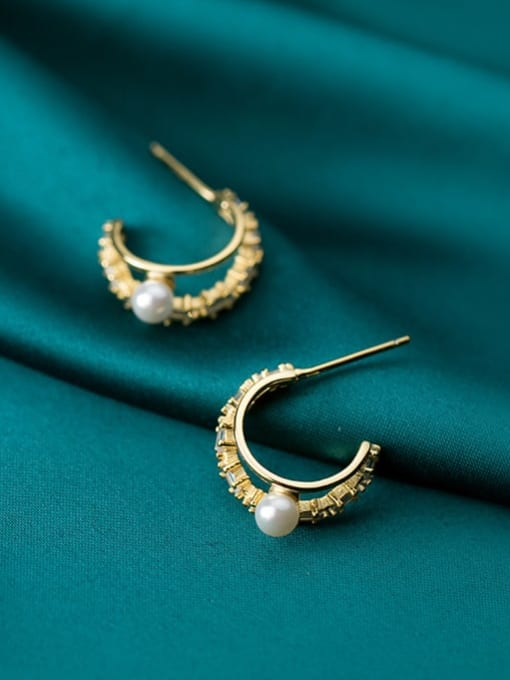 Rosh 925 Sterling Silver Imitation Pearl Double C-shaped trend study Earring 1