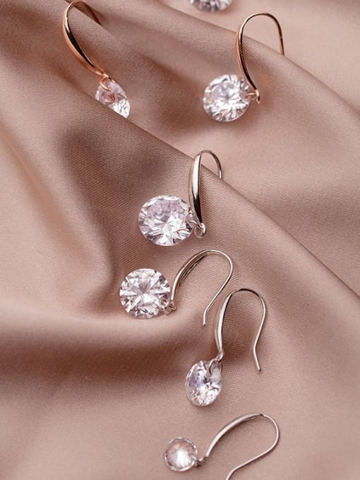 Rosh 925 Sterling Silver Cubic Zirconia White Round Dainty Hook Earring 0