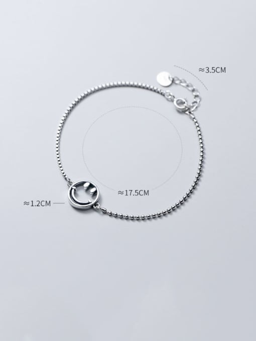 Rosh 925 Sterling Silver Retro style cute smiley face chain Bracelet 3
