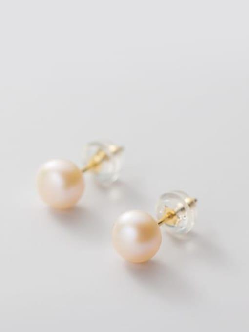 Orange Pearl Earrings Gold 5 6mm 925 Sterling Silver Freshwater Pearl  Round Minimalist Stud Earring