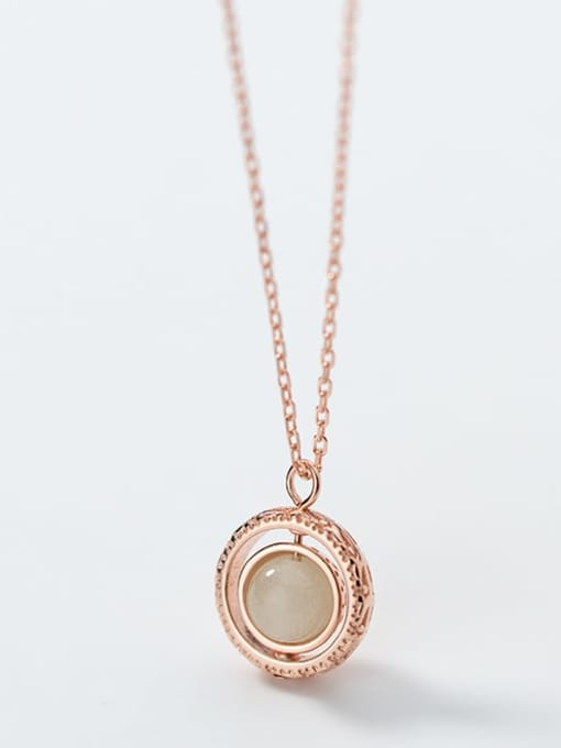 Rosh 925 Sterling Silver Simple Fashion Round Luminous Stone Pendant Necklace 2