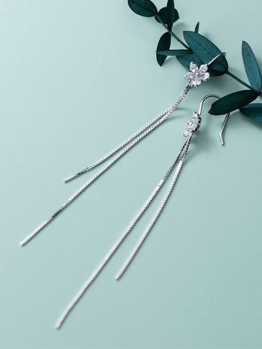 Rosh 925 Sterling Silver Flowers Tassel Minimalist Threader Earring