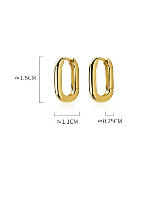 Rosh 925 Sterling Silver  Smooth Geometric Minimalist Huggie Earring 3