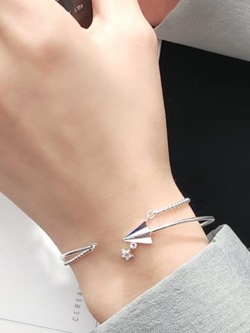 Rosh 925 Sterling Silver Minimalist  Paper plane double layer small silver beads Strand Bracelet 1
