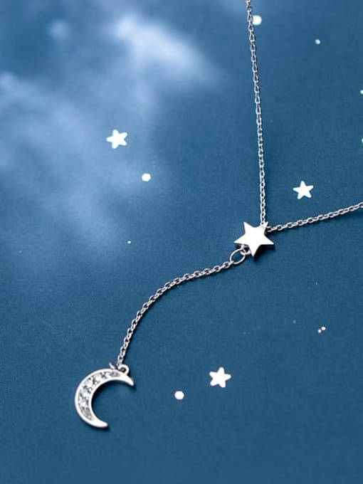 Rosh 925 Sterling Silver  Minimalist Simple and stylish diamond  moon Y-shaped star necklace 1