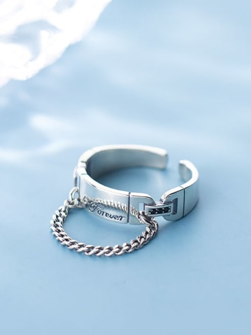 Rosh 925 Sterling Silver Round Vintage Free Size Band Ring 2