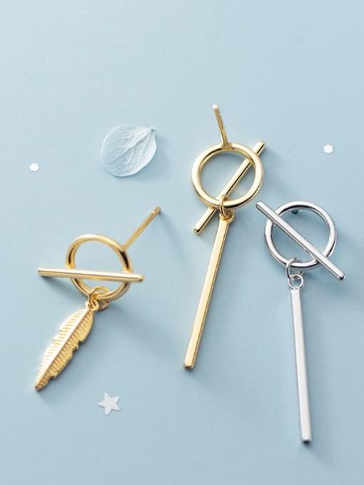 Rosh 925 Sterling Silver Asymmetrical feather staff Minimalist Huggie Earring 1