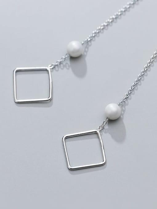 Rosh 925 sterling silver imitation pearl  geometric minimalist threader earring 1