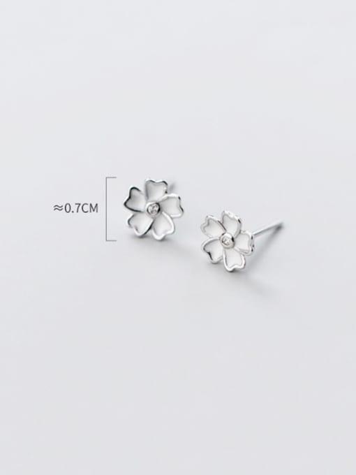 Rosh 925 Sterling Silver Shell White Flower Minimalist Stud Earring