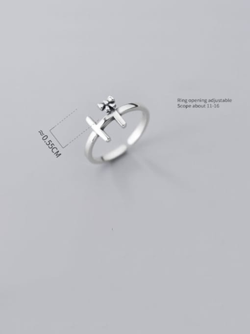 Rosh 925 Sterling Silver Cross Vintage Free Size Ring 3