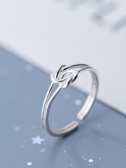 Rosh 925 Sterling Silver  Minimalist  Rope Knot Free Size Ring 0