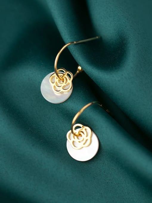 Rosh 925 Sterling Silver Shell  Round Minimalist Hook Earring 2