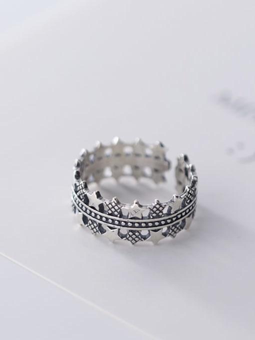 Rosh 925 sterling silver star vintage free size  ring 3