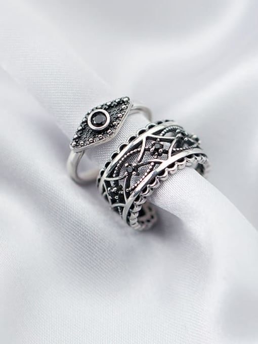 Rosh 925 Sterling Silver Punk style carved black diamond Hollow Pattern Free Size Ring