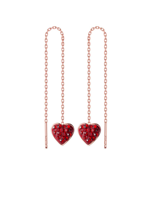 Rosh 925 Sterling Silver Rhinestone Red Heart Minimalist Threader Earring 1