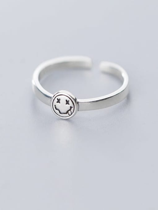Rosh 925 Sterling Silver Minimalist Face  Free Size  Ring 0