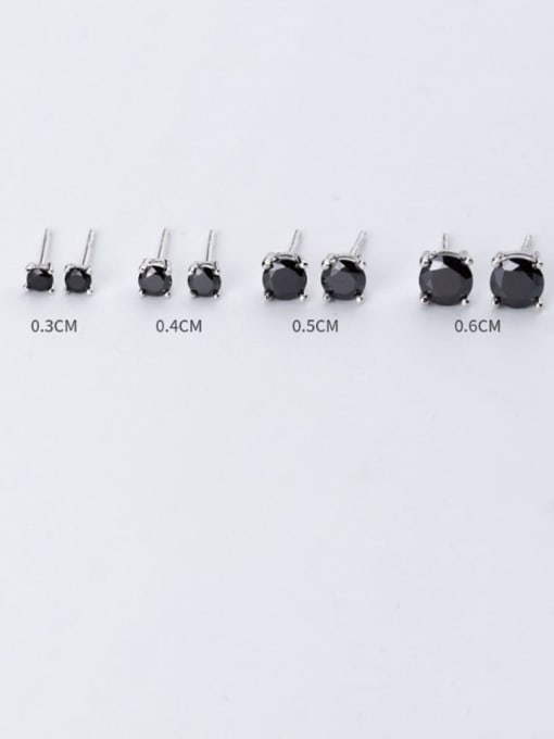 Rosh 925 Sterling Silver Cubic Zirconia Black Round Minimalist Stud Earring 1