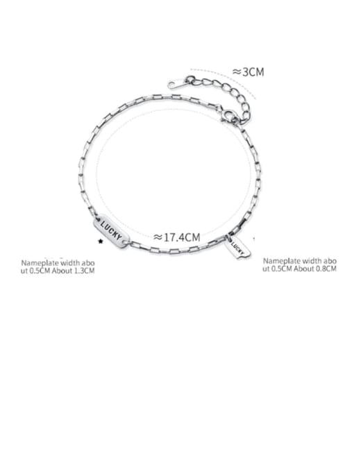 Rosh 925 Sterling Silver  Vintage Lucky Tag Bracelet Link Bracelet 2