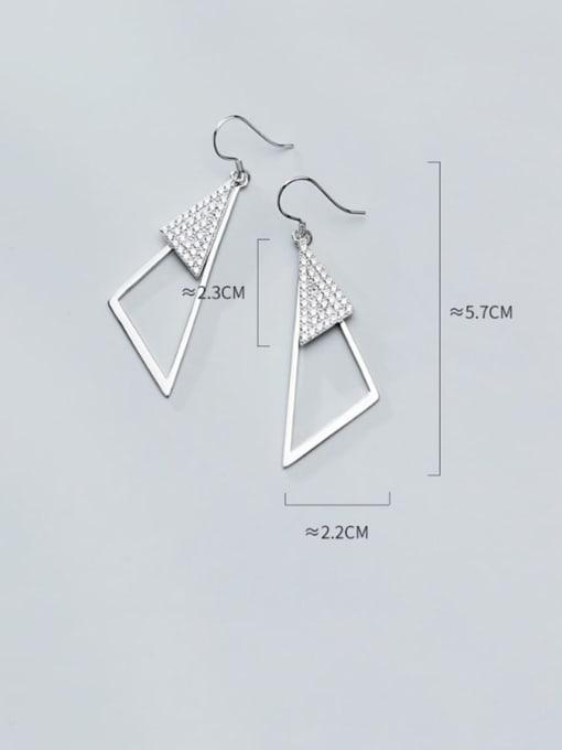 Rosh 925 Sterling Silver Rhinestone Triangle Minimalist Hook Earring 3