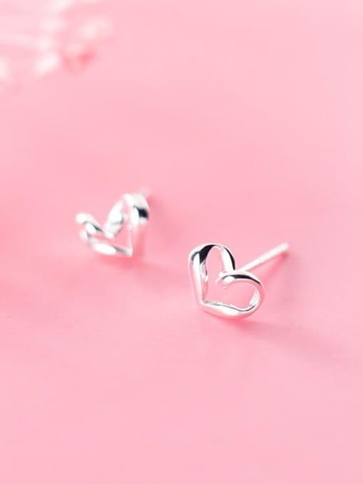 Rosh 925 Sterling Silver Hollow Heart Minimalist Stud Earring 2