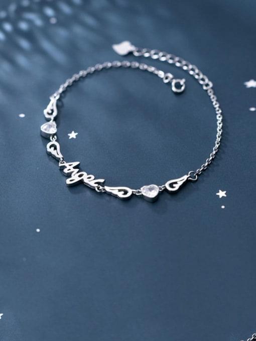 Rosh 925 Sterling Silver Cubic Zirconia  Letter Minimalist Bracelet 0