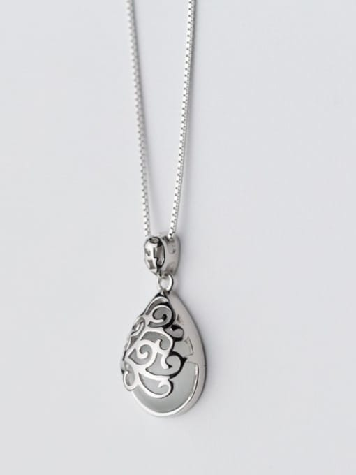 Rosh 925 Sterling Silver Vintage pattern synthetic  Cats Eye Pendant Necklace 1