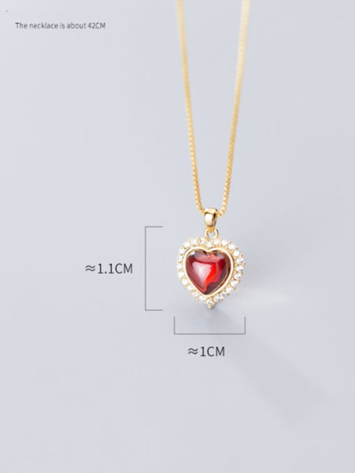 Rosh 925 Sterling Silver Synthetic Red Agate Heart Shaped Diamond Necklace 4
