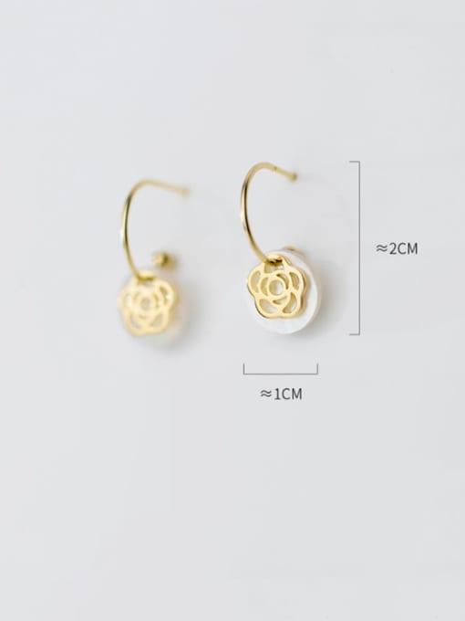 Rosh 925 Sterling Silver Shell  Round Minimalist Hook Earring 3