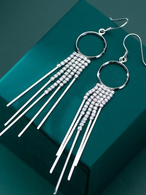 Rosh 925 Sterling Silver Cubic Zirconia  Geometric Classic Long Tassel  Hook Earring 1
