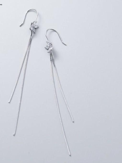 Rosh 925 Sterling Silver Flowers Tassel Minimalist Threader Earring 1