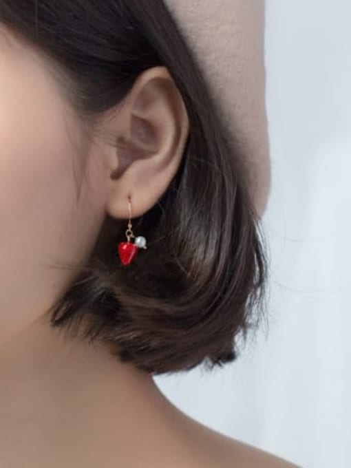 Rosh 925 Sterling Silver Imitation Pearl Friut  Strawberry Minimalist Hook Earring 3
