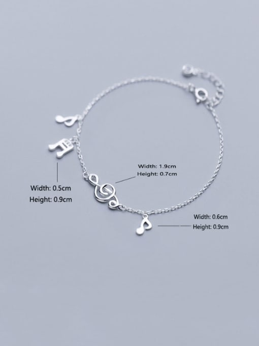 Rosh 925 Sterling Silver  Minimalist  Musical notes with diamonds Link Bracelet 1