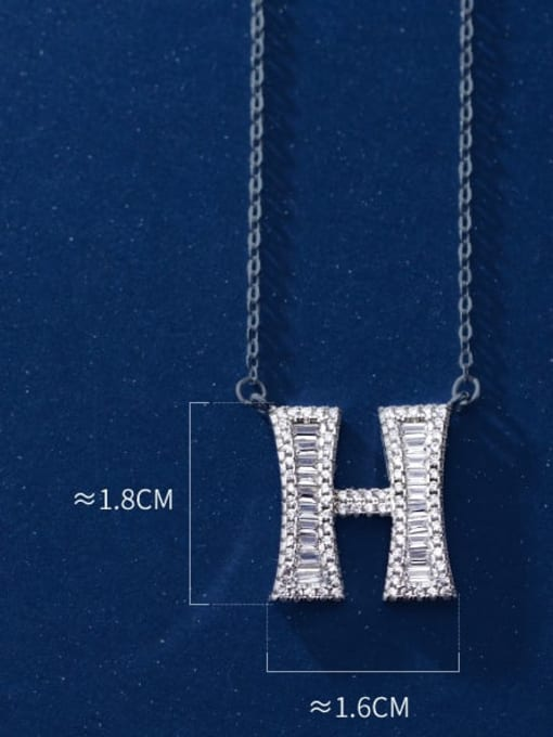 Letter H 925 Sterling Silver Simple Fashion full diamond letters pendant  Necklace