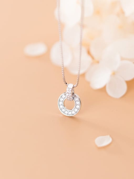 Rosh 925 Sterling Silver Cubic Zirconia Full Diamond Round Pendant  Necklace