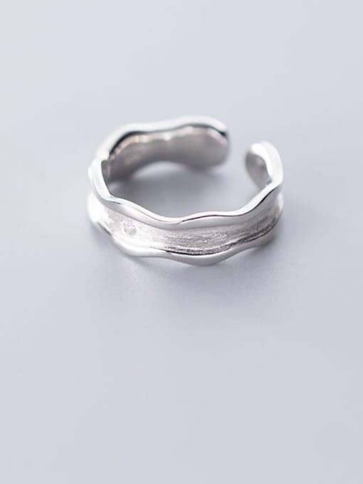 Rosh 925 Sterling Silver Irregular Minimalist Free Size Band Ring 2