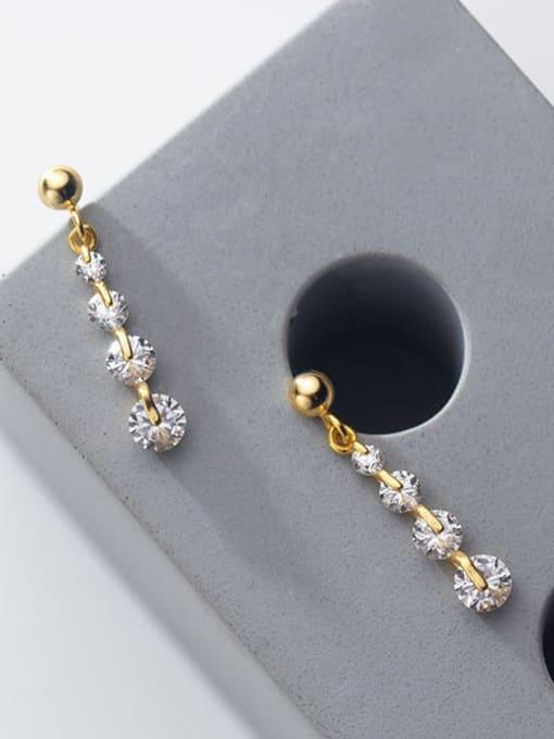 Rosh 925 Sterling Silver Cubic Zirconia  Round Minimalist Drop Earring 3