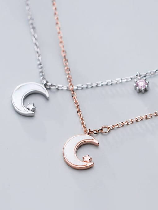 Rosh 925 sterling silver shell  Simple Moon pendant necklace 3