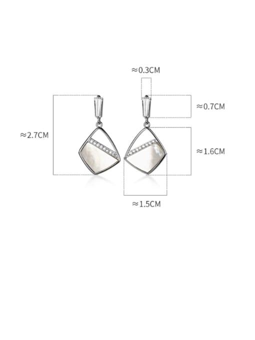 Rosh 925 Sterling Silver Shell Geometric Minimalist Drop Earring 2